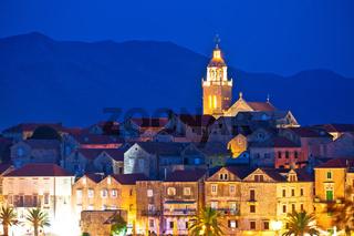 Town of Korcula panoramic evening view