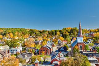 Montpelier town skyline in autumn, Vermont, USA