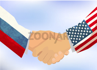 USA and Russia handshake, concept illustration on sky background