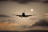 air plane full moon
