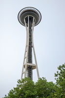SEATTLE, WASHINGTON, USA - JULY 4, 2014: The Seattle Space Needle against the sky.