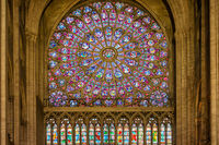 Stained glass window of cathedral Notre-Dame de Paris