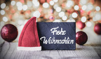 Plate, Calligraphy Frohe Weihnachten Means Merry Christmas, Santa Claus Hat