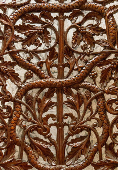 Details of a fine wood carving art. An Islamic art and craft