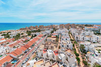 Aerial view rooftops of spanish residential houses near the Mediterranean Sea in Torrevieja