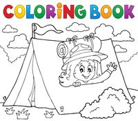 Coloring book scout girl in tent 1