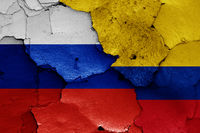 flags of Russia and Colombia