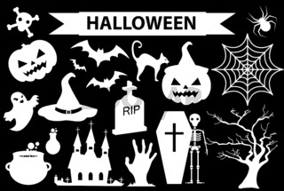 Happy Halloween icons set, black silhouette style. Isolated on white background. Halloween collection of design elements with pumpkin, spider, zombie, skull, coffin, bat. Vector illustration.