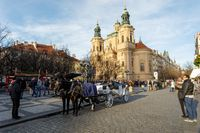 horse carriage waiting for tourists on Christmas Old Town Square