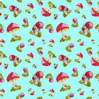 Seamless pattern red fly agaric hand painted.
