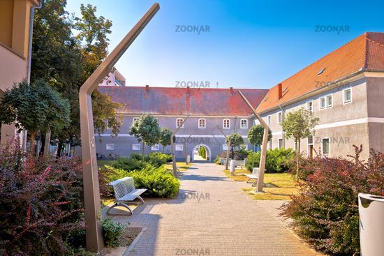 City of Osijek park walkway and architecture view