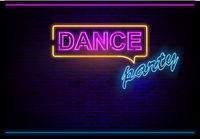 Neon Light Dance Party on Brick Wall Background