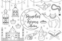 Ramadan kareem icon set sketch outline doodle style. Coloring book page for kids. Collection of arabic design elements with camel, quran, lanterns, rosary, food, mosque. Vector illustration.