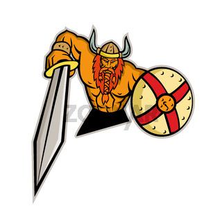 Viking Warrior Sword and Shield Mascot