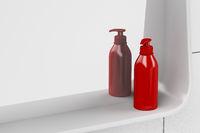 Red liquid soap bottle
