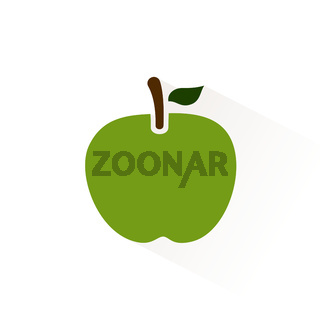 Green apple icon with shadow. Flat vector illustration