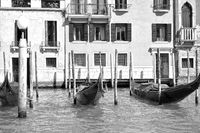 Moored gondolas in The Grand Canal in Venice