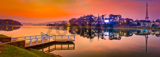 Sunrise over Xuan Huong Lake, Dalat, Vietnam. Panorama