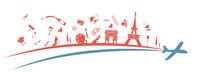 france flag symbol element with aeroplane. vetcor illustration ..eps