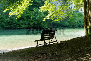 shaded and empty park bench on an idyllic and pictruresque riverbank in cool lush summer forest