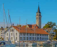 Harbour with museum 'Altes Zollhaus' and parish church St. Johannes, Romanshorn, Switzerland