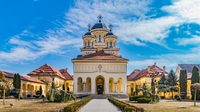 Beautiful view to the Coronation Reunification Cathedral in Alba Iulia city, Romania