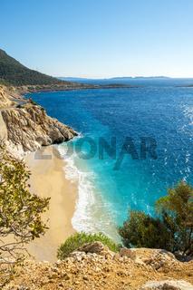High Clifftop View Empty Turquoise Beach Kaputas