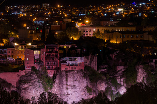 view over tiflis historic center at night