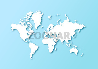 Detailed world map isolated on a light blue background