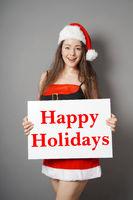 miss santa wishing happy holidays