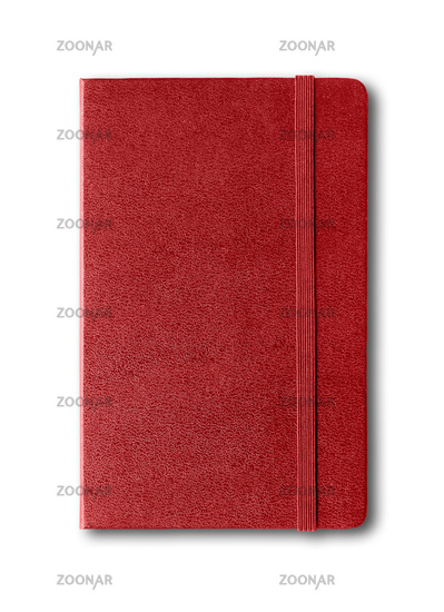 Dark red closed notebook isolated on white