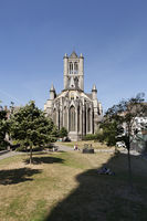 Ghent, Belgium - June 1, 2017: Rear view of the Saint Nicolas Church in the center of town