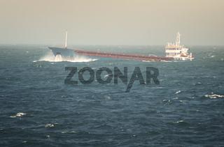 Crude Oil Tanker Sailing Through Rough Sea