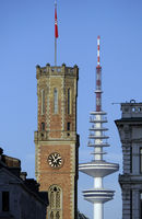 Tower of the old post office, Heinrich-Hertz-Tower in the background