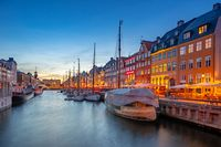 Copenhagen city at night with view of Nyhavn in Denmark