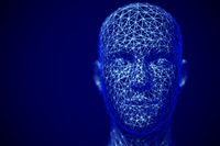 Cyberspace or machine learning concept: polygonal male face.