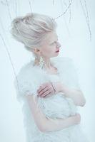 beautiful albino young woman girl with red lips
