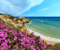Atlantic blossoming coast view (Algarve, Portugal).