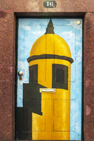 watchtower, castle, painted front door, Funchal, Madeira, Portugal, Europe