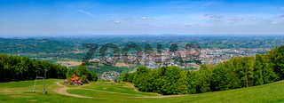 Panoramic view of Maribor, Slovenia from Pohorje, mountain hut luka in front