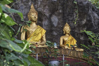 Two seated Buddha images, Phousi Hill, Luang Prabang, Laos