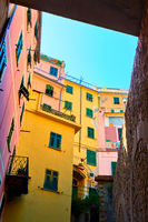 Colorful courtyard in Riomaggiore