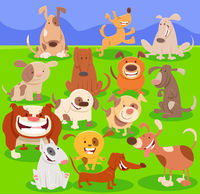 dogs cartoon characters large group