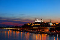 River View Of Bratislava City At Twilight