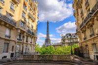 Paris France city skyline at Eiffel Tower and Paris architecture building