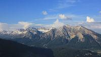 Mountain Parpaner Rothorn, Aroser Rothorn and Lenzer Horn seen from Obermutten, Switzerland.