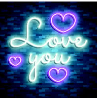 Happy Valentines Day. Neon. Vector stock images