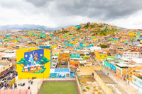 Bogota city Meissen districts aerial view of primary and high school