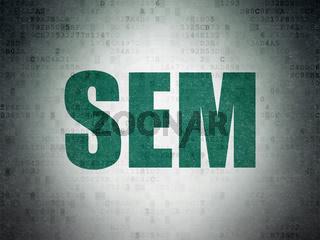 Marketing concept: SEM on Digital Data Paper background