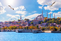 The Suleymaniye Mosque, beautiful view from the Golden Horn inlet, Istanbul, Turkey